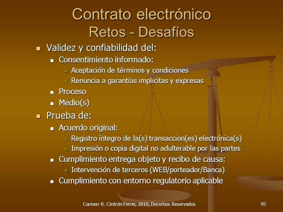 Contrato electrónico Retos - Desafíos