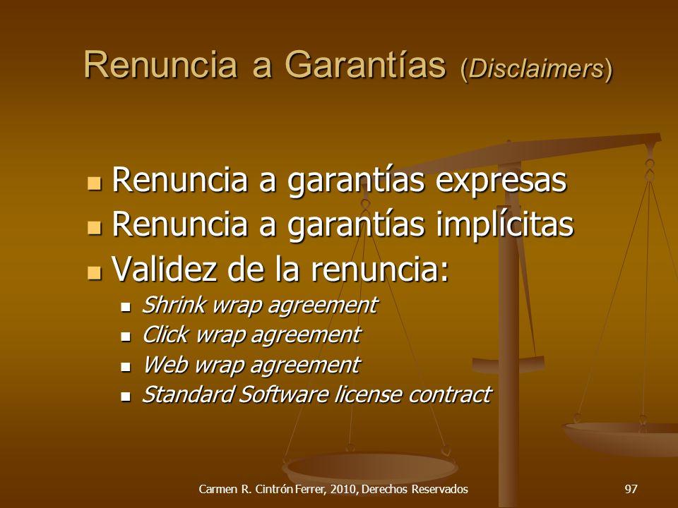 Renuncia a Garantías (Disclaimers)