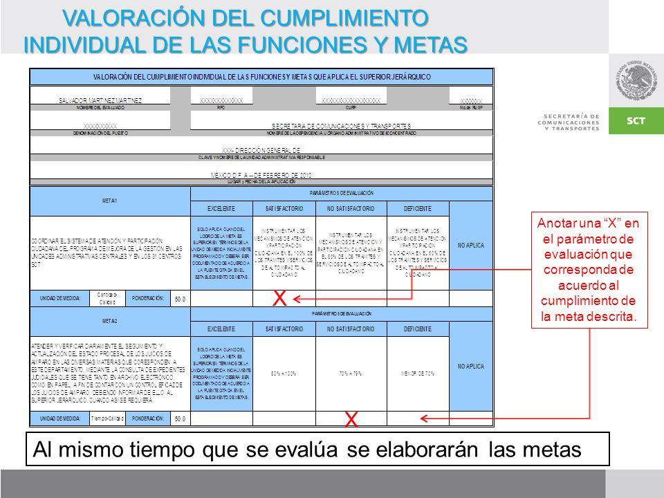 VALORACIÓN DEL CUMPLIMIENTO INDIVIDUAL DE LAS FUNCIONES Y METAS