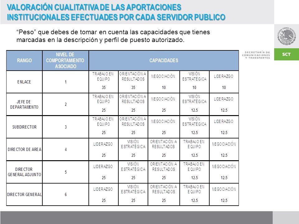 VALORACIÓN CUALITATIVA DE LAS APORTACIONES INSTITUCIONALES EFECTUADES POR CADA SERVIDOR PUBLICO