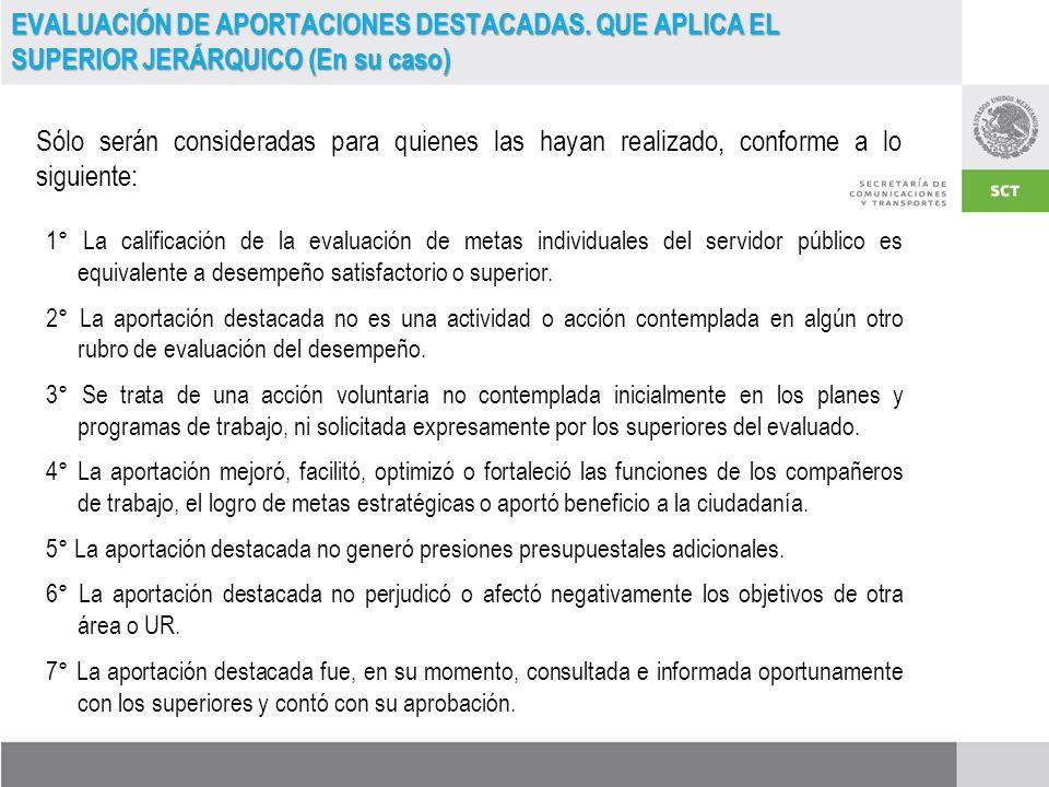 EVALUACIÓN DE APORTACIONES DESTACADAS