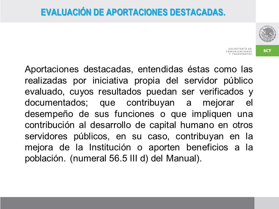 EVALUACIÓN DE APORTACIONES DESTACADAS.