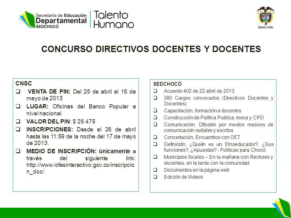 CONCURSO DIRECTIVOS DOCENTES Y DOCENTES