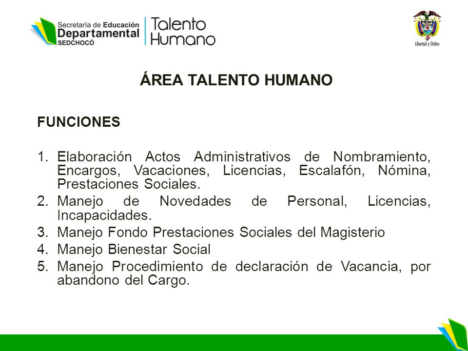 ÁREA TALENTO HUMANO FUNCIONES