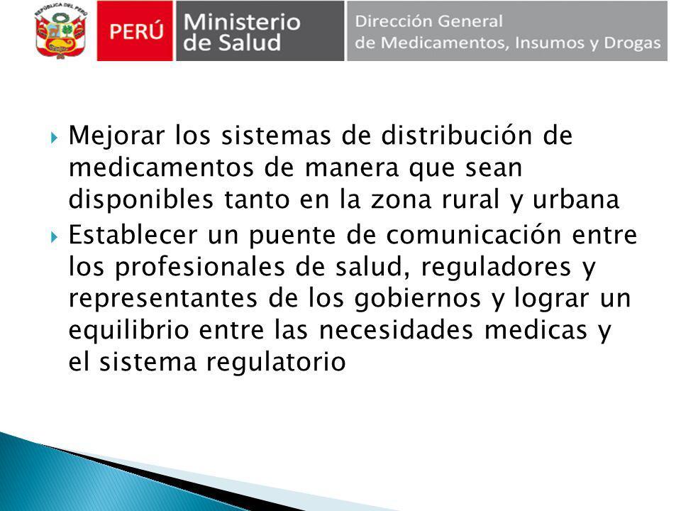 Mejorar los sistemas de distribución de medicamentos de manera que sean disponibles tanto en la zona rural y urbana