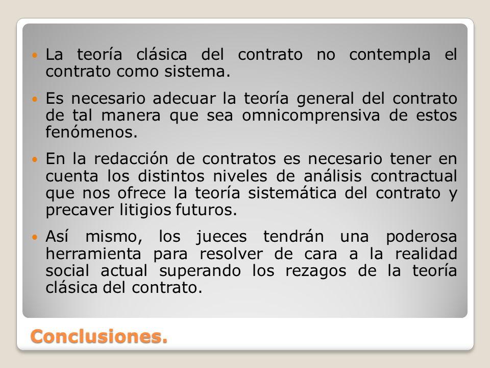 La teoría clásica del contrato no contempla el contrato como sistema.