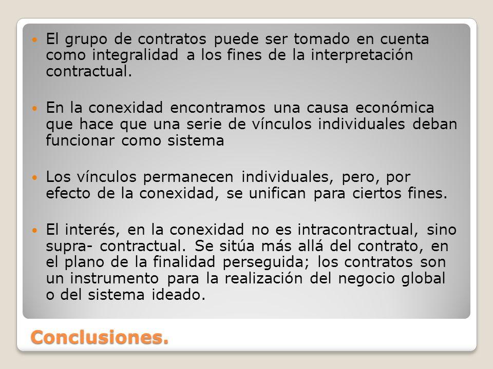El grupo de contratos puede ser tomado en cuenta como integralidad a los fines de la interpretación contractual.