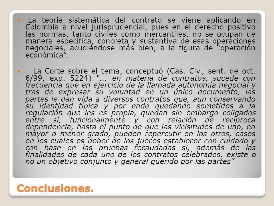 La teoría sistemática del contrato se viene aplicando en Colombia a nivel jurisprudencial, pues en el derecho positivo las normas, tanto civiles como mercantiles, no se ocupan de manera específica, concreta y sustantiva de esas operaciones negociales, acudiéndose más bien, a la figura de operación económica .