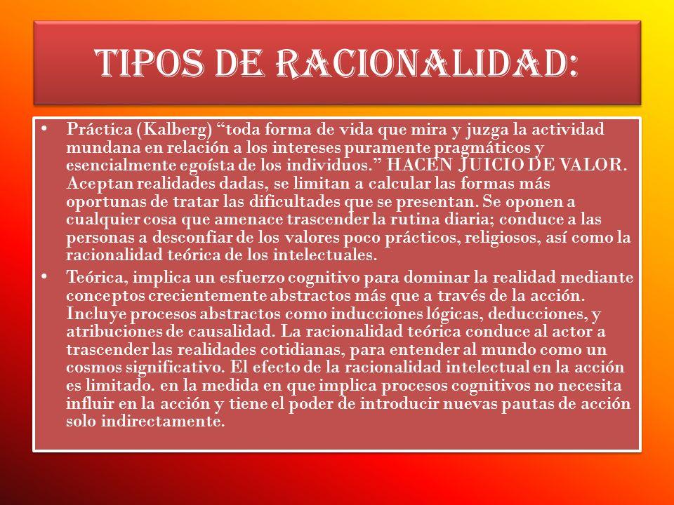 TIPOS DE RACIONALIDAD: