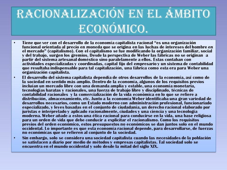 RACIONALIZACIÓN EN EL ÁMBITO ECONÓMICO.