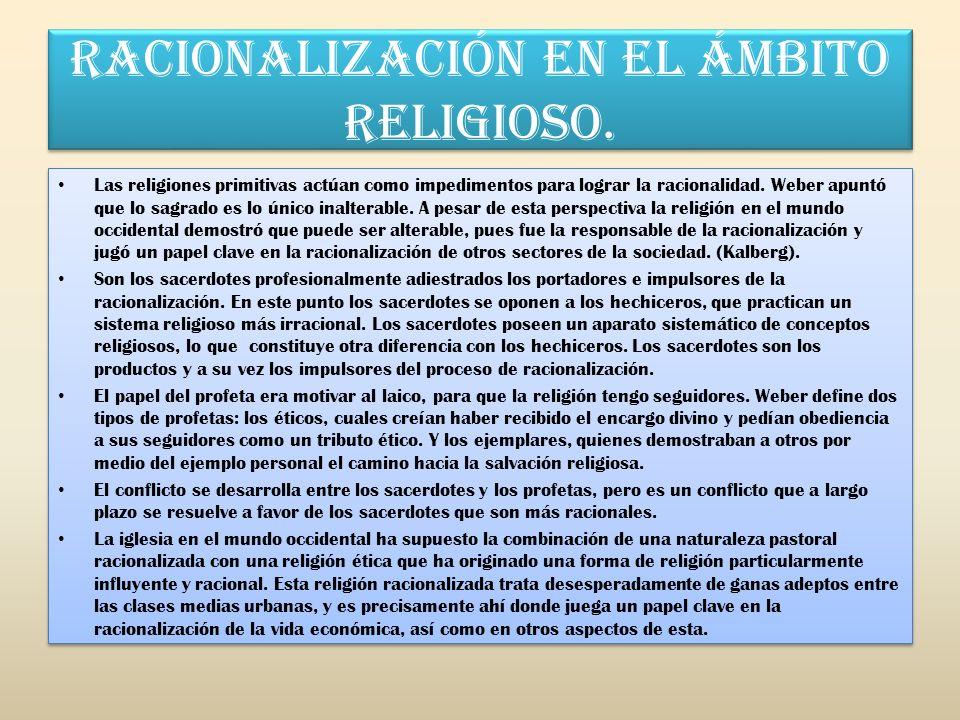 RACIONALIZACIÓN EN EL ÁMBITO RELIGIOSO.