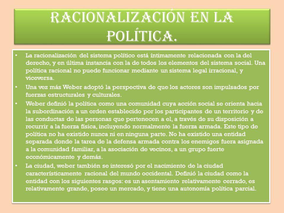 RACIONALIZACIÓN EN LA POLÍTICA.