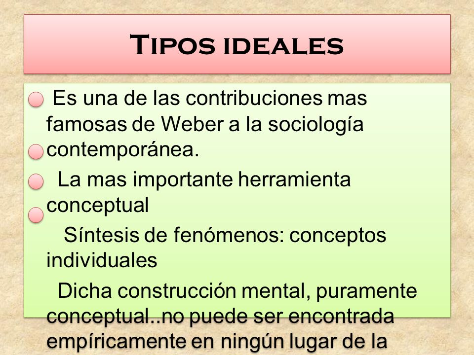 Tipos ideales