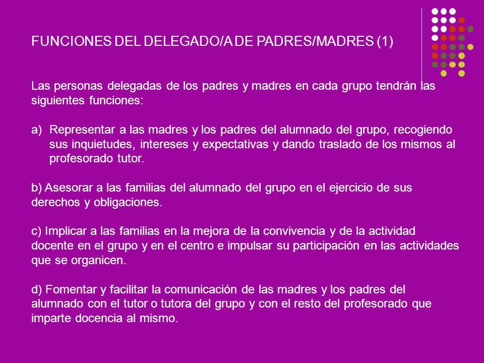 FUNCIONES DEL DELEGADO/A DE PADRES/MADRES (1)