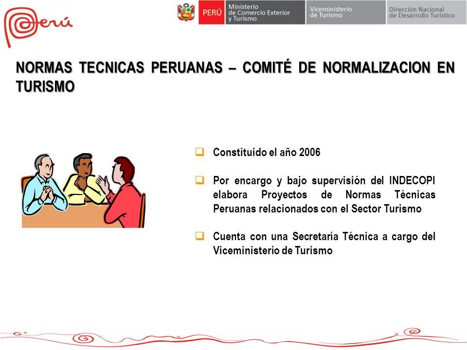 NORMAS TECNICAS PERUANAS – COMITÉ DE NORMALIZACION EN TURISMO
