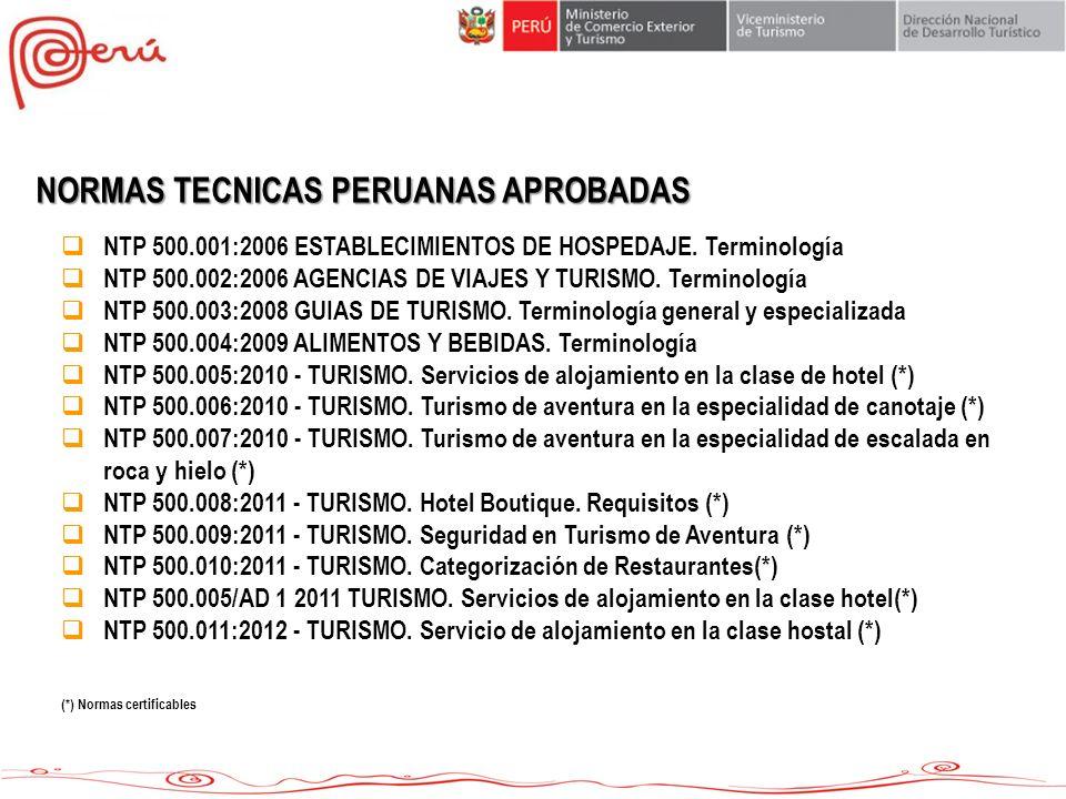 NORMAS TECNICAS PERUANAS APROBADAS