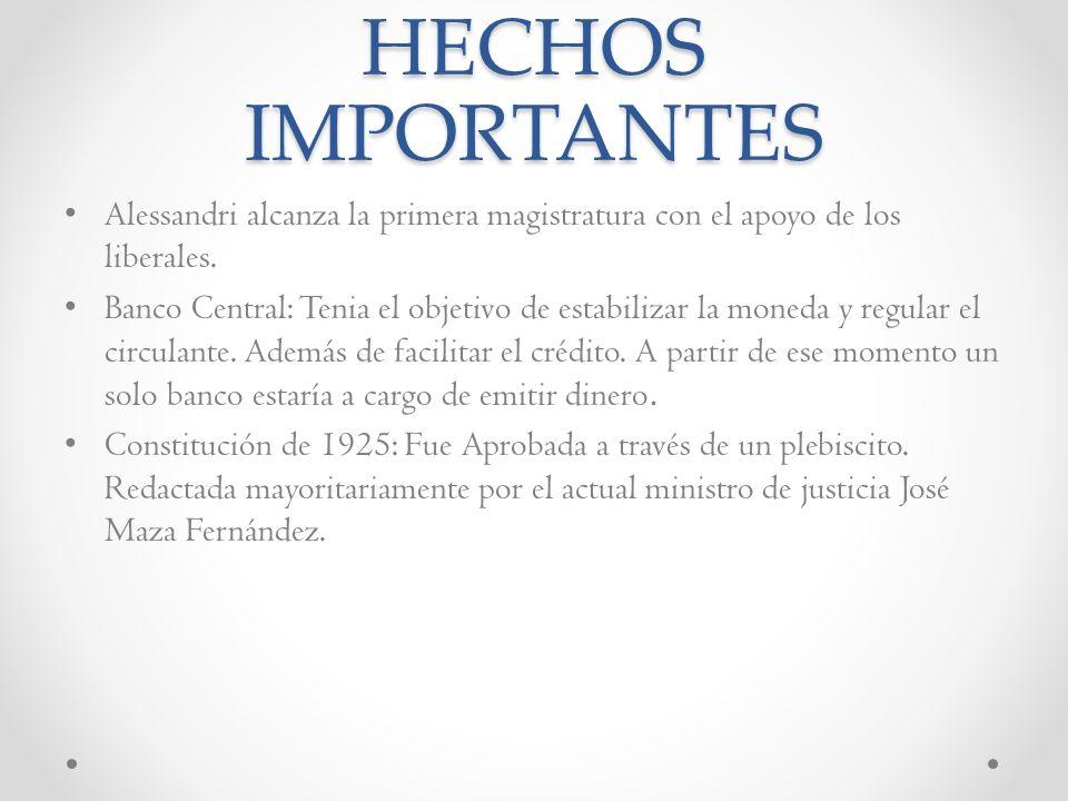 HECHOS IMPORTANTES Alessandri alcanza la primera magistratura con el apoyo de los liberales.