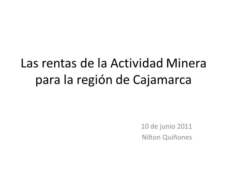Las rentas de la Actividad Minera para la región de Cajamarca