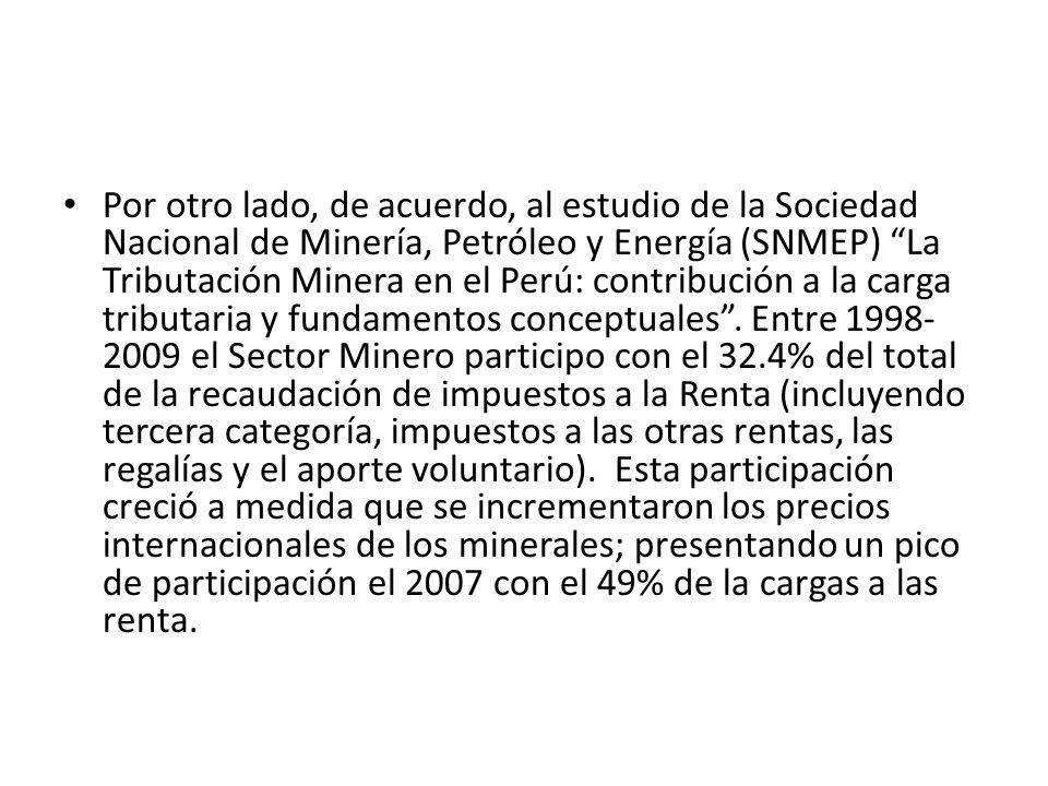 Por otro lado, de acuerdo, al estudio de la Sociedad Nacional de Minería, Petróleo y Energía (SNMEP) La Tributación Minera en el Perú: contribución a la carga tributaria y fundamentos conceptuales .
