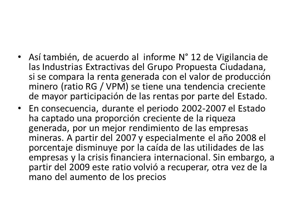 Así también, de acuerdo al informe N° 12 de Vigilancia de las Industrias Extractivas del Grupo Propuesta Ciudadana, si se compara la renta generada con el valor de producción minero (ratio RG / VPM) se tiene una tendencia creciente de mayor participación de las rentas por parte del Estado.
