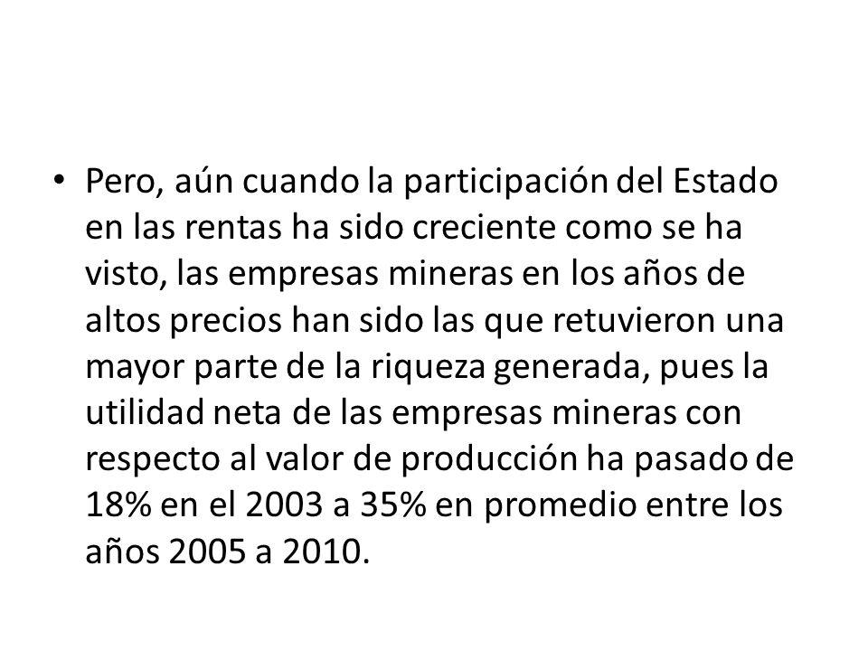 Pero, aún cuando la participación del Estado en las rentas ha sido creciente como se ha visto, las empresas mineras en los años de altos precios han sido las que retuvieron una mayor parte de la riqueza generada, pues la utilidad neta de las empresas mineras con respecto al valor de producción ha pasado de 18% en el 2003 a 35% en promedio entre los años 2005 a 2010.