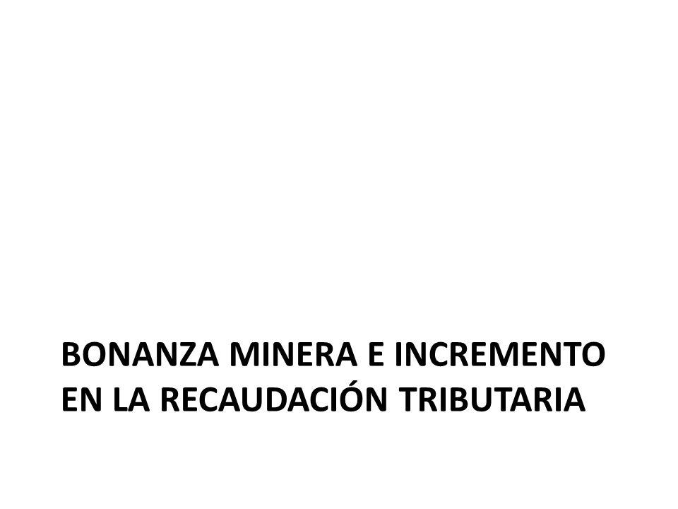 Bonanza minera e incremento en la recaudación tributaria