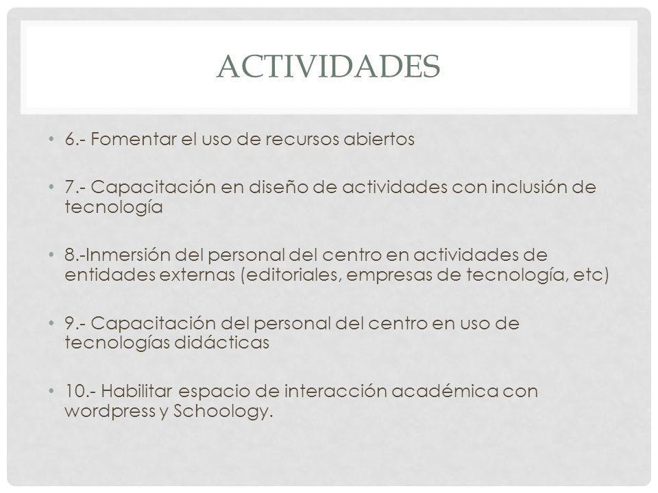 Actividades 6.- Fomentar el uso de recursos abiertos