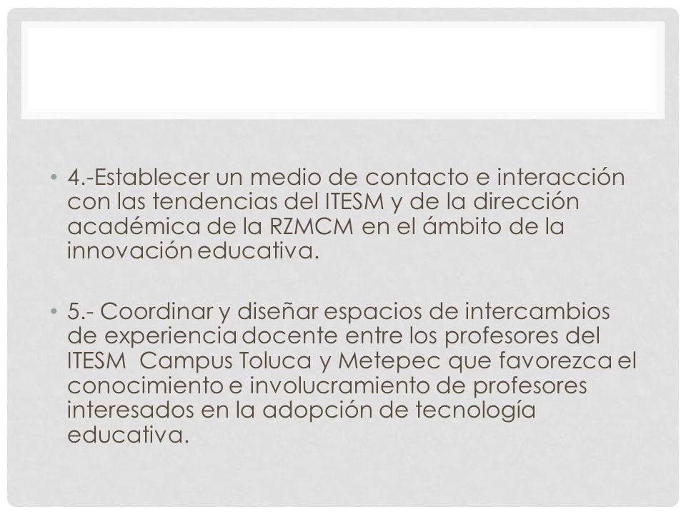 4.-Establecer un medio de contacto e interacción con las tendencias del ITESM y de la dirección académica de la RZMCM en el ámbito de la innovación educativa.