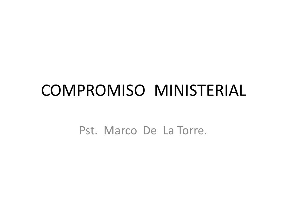COMPROMISO MINISTERIAL