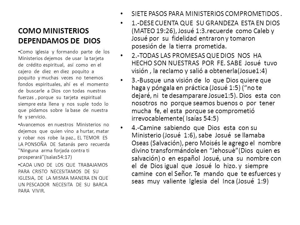 COMO MINISTERIOS DEPENDAMOS DE DIOS