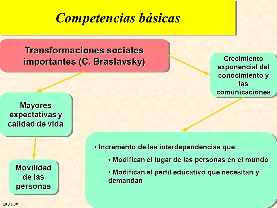 Competencias básicasTransformaciones sociales importantes (C. Braslavsky) Crecimiento exponencial del conocimiento y las comunicaciones.