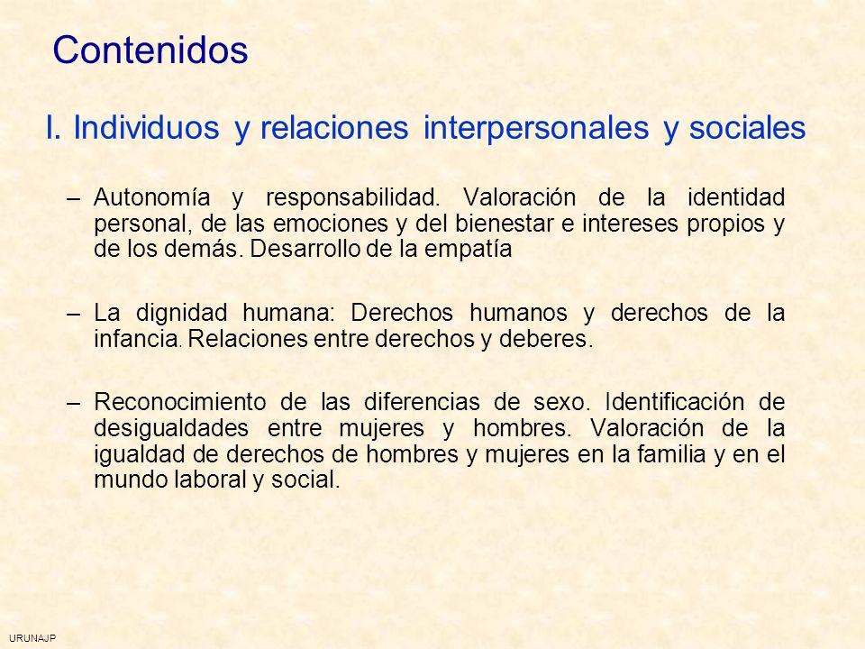 I. Individuos y relaciones interpersonales y sociales