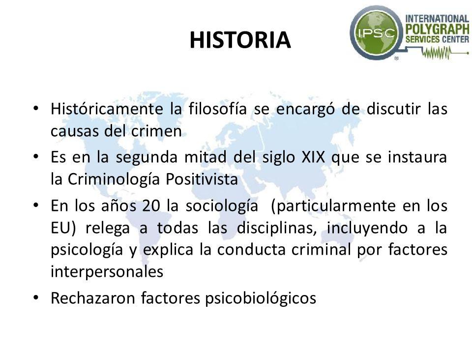 HISTORIA Históricamente la filosofía se encargó de discutir las causas del crimen.