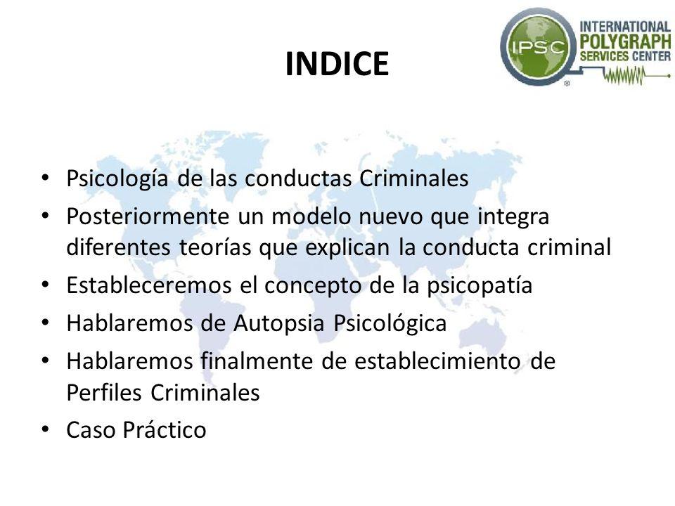 INDICE Psicología de las conductas Criminales