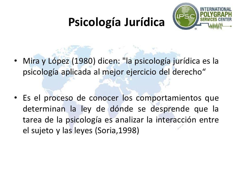 Psicología Jurídica Mira y López (1980) dicen: la psicología jurídica es la psicología aplicada al mejor ejercicio del derecho