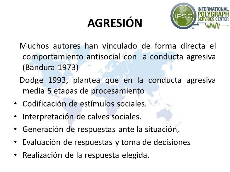 AGRESIÓN Muchos autores han vinculado de forma directa el comportamiento antisocial con a conducta agresiva (Bandura 1973)