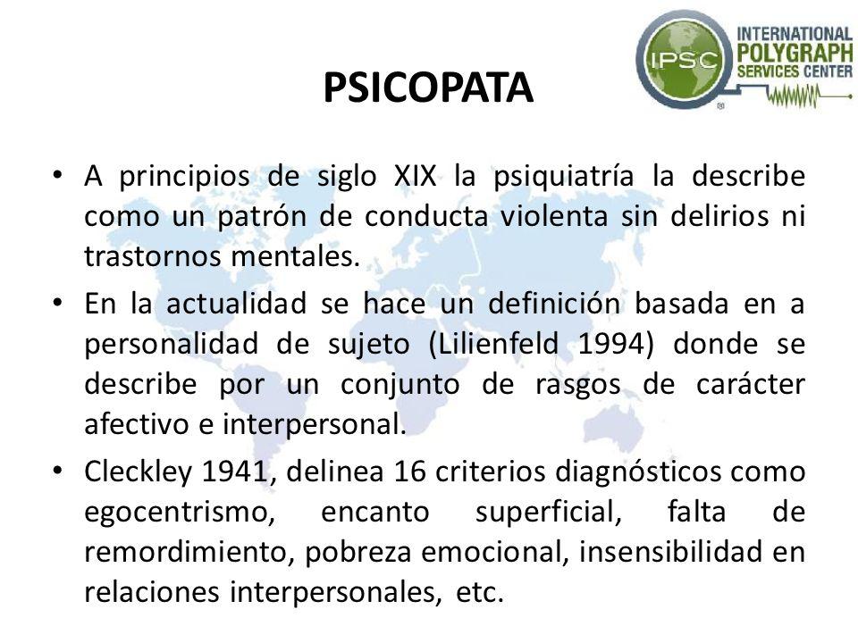 PSICOPATA A principios de siglo XIX la psiquiatría la describe como un patrón de conducta violenta sin delirios ni trastornos mentales.
