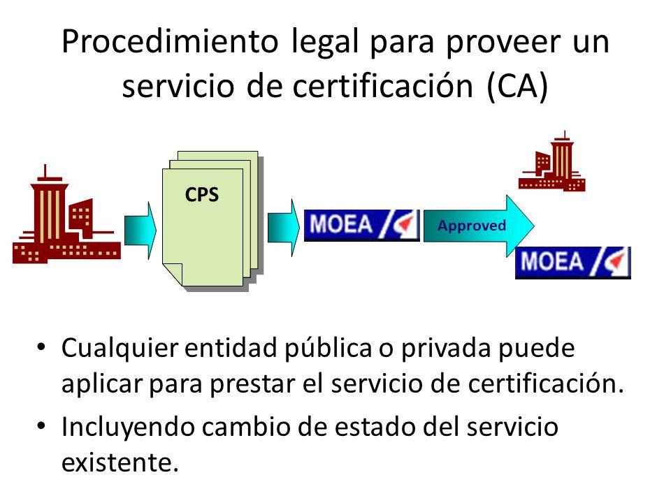Procedimiento legal para proveer un servicio de certificación (CA)