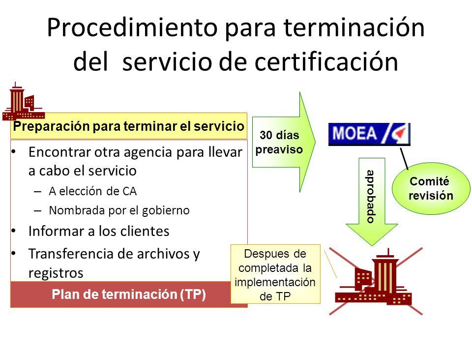 Procedimiento para terminación del servicio de certificación