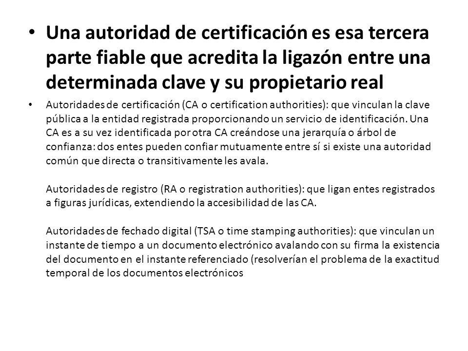 Una autoridad de certificación es esa tercera parte fiable que acredita la ligazón entre una determinada clave y su propietario real