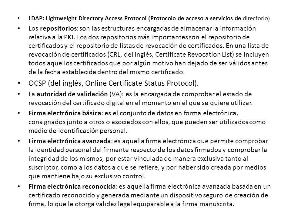 OCSP (del inglés, Online Certificate Status Protocol).