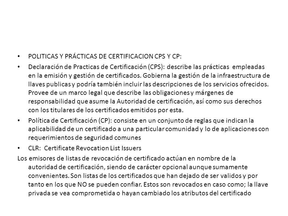 POLITICAS Y PRÁCTICAS DE CERTIFICACION CPS Y CP:
