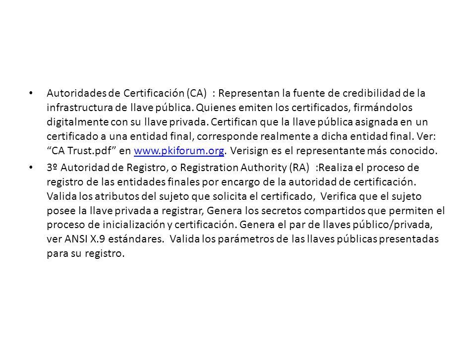 Autoridades de Certificación (CA) : Representan la fuente de credibilidad de la infrastructura de llave pública. Quienes emiten los certificados, firmándolos digitalmente con su llave privada. Certifican que la llave pública asignada en un certificado a una entidad final, corresponde realmente a dicha entidad final. Ver: CA Trust.pdf en www.pkiforum.org. Verisign es el representante más conocido.