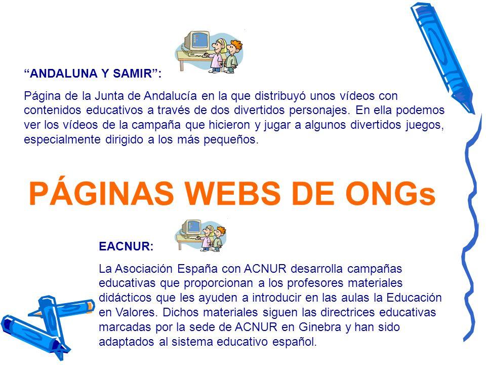 PÁGINAS WEBS DE ONGs ANDALUNA Y SAMIR :