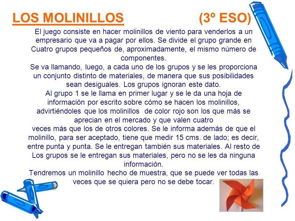 LOS MOLINILLOS (3º ESO) El juego consiste en hacer molinillos de viento para venderlos a un.