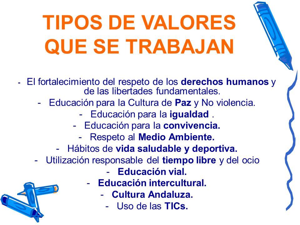 TIPOS DE VALORES QUE SE TRABAJAN Educación intercultural.
