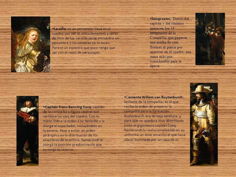 Integrantes: Detrás del capitán y del teniente aparecen los 18 integrantes de la Compañía, que pagaron una media de cien florines al pintor por aparecer en el cuadro, una suma más que considerable para la época.