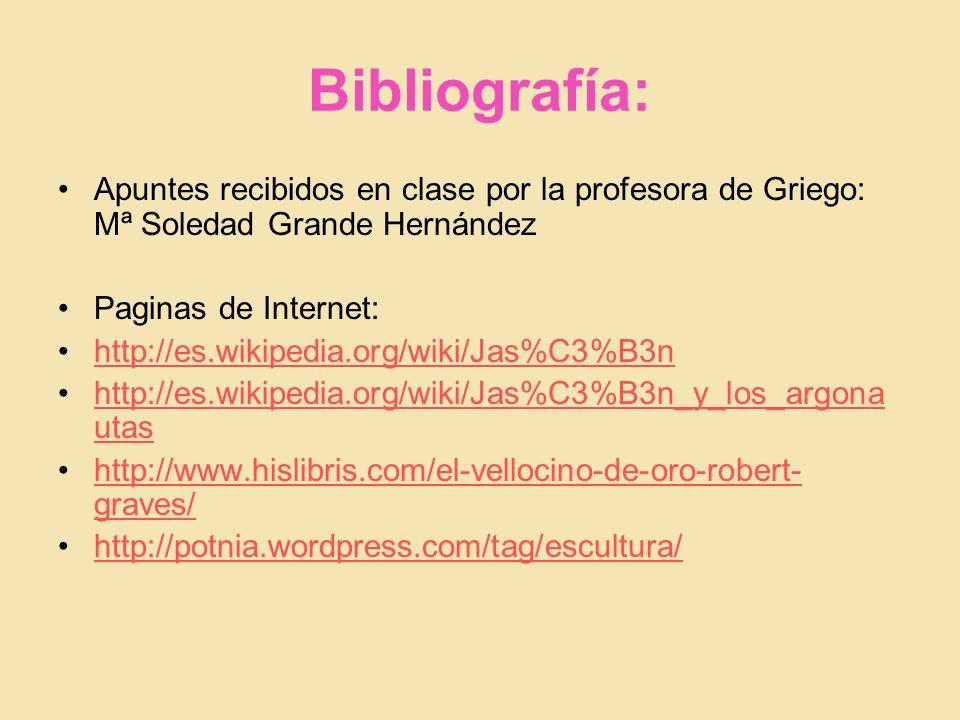 Bibliografía: Apuntes recibidos en clase por la profesora de Griego: Mª Soledad Grande Hernández. Paginas de Internet: