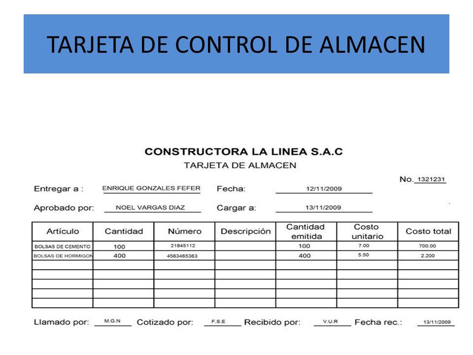 TARJETA DE CONTROL DE ALMACEN