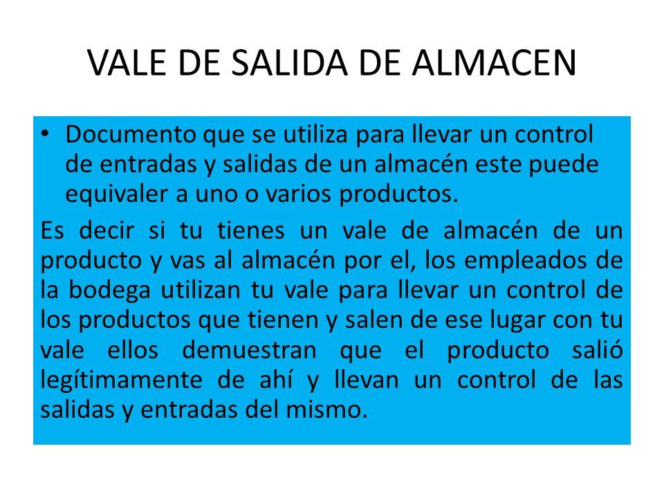 VALE DE SALIDA DE ALMACEN